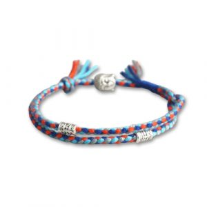 Bracelet bouddhiste tressé – bleu