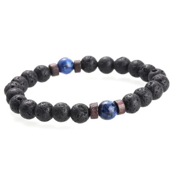 Bracelet bouddhiste homme en pierres de lave