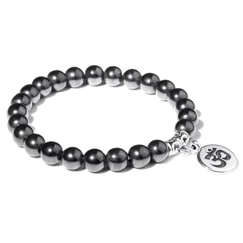 Bracelet bouddhiste Om̐ – Perles d'hématite