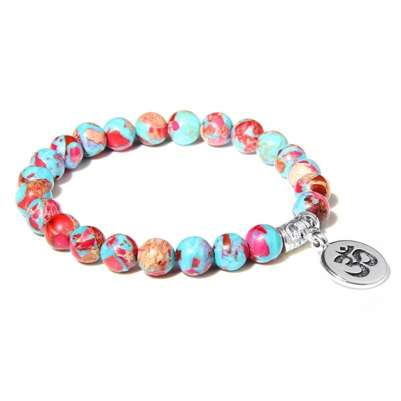 Bracelet bouddhiste Om̐ – Jaspe Imperial colorée