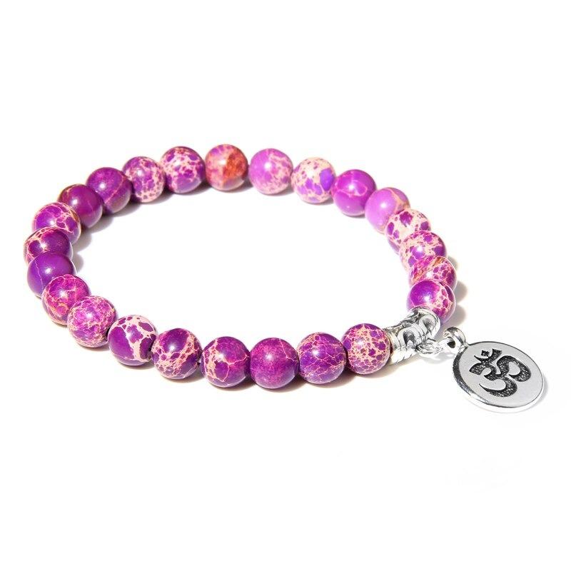 Bracelet bouddhiste Om̐ – Jaspe Imperial mauve