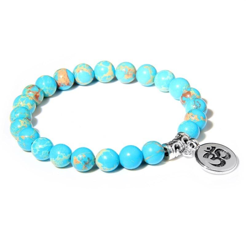 Bracelet bouddhiste Om̐ – Jaspe Imperial