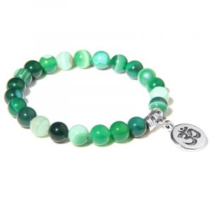 Bracelet bouddhiste Om̐ – perles d'agate vertes