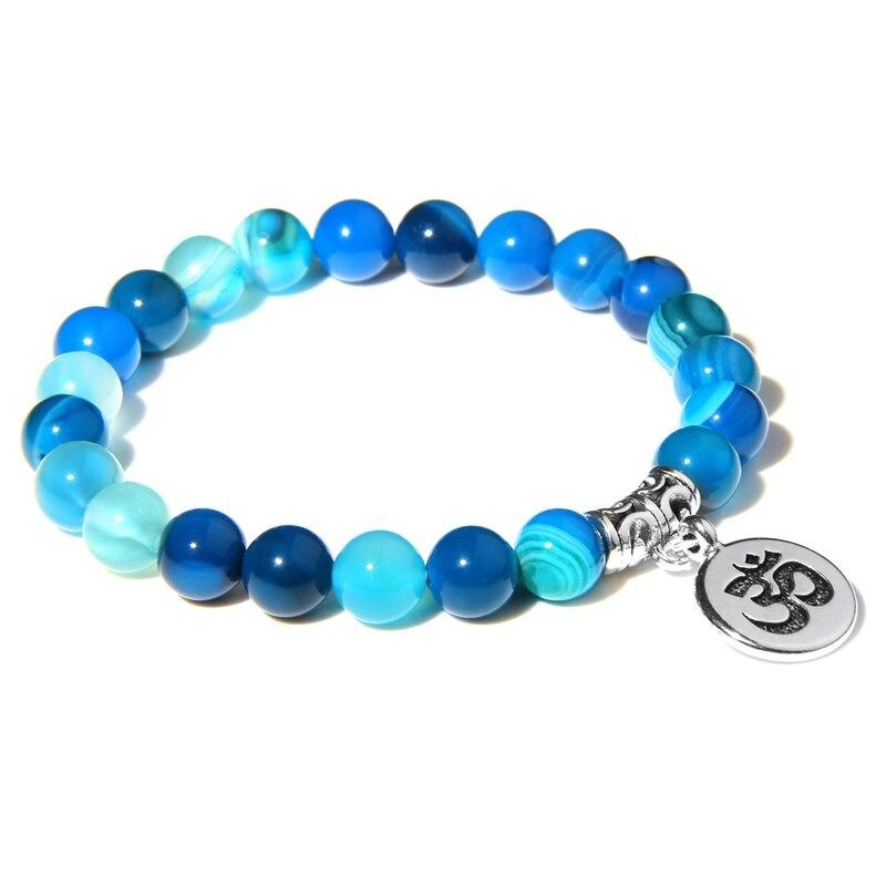 Bracelet bouddhiste Om̐ – perles d'agate