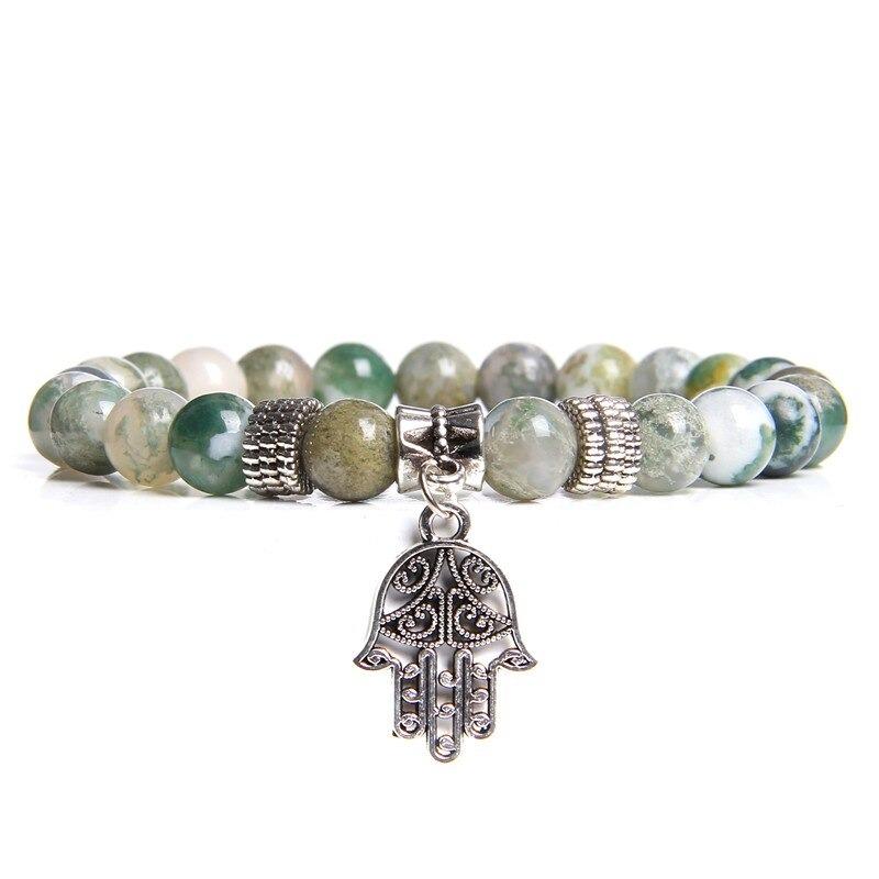 Bracelet bouddhiste perles d'agate