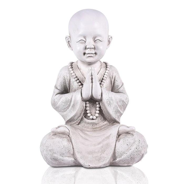 Statue bouddha porte bonheur – blanc