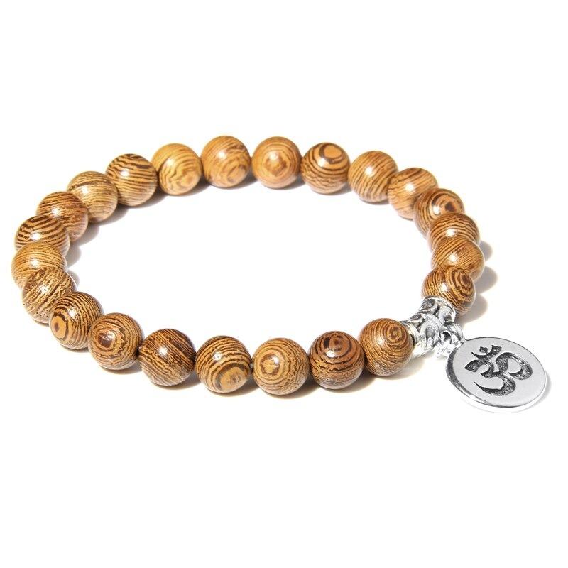 Bracelet bouddhiste Om̐ en bois