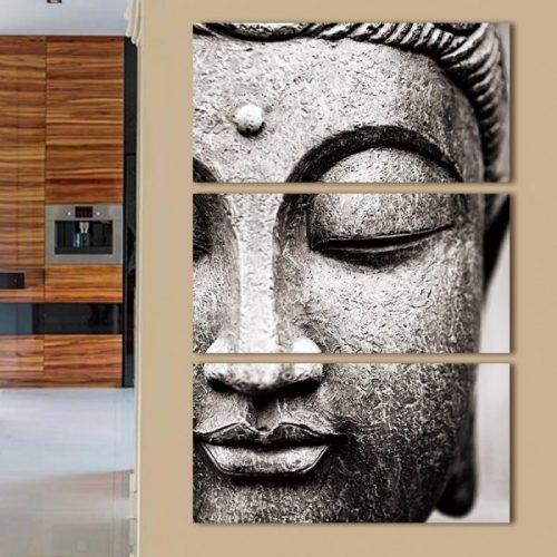 Tableau Bouddha gris en 3 pièces