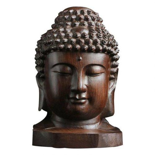 Statue tête de bouddha en bois
