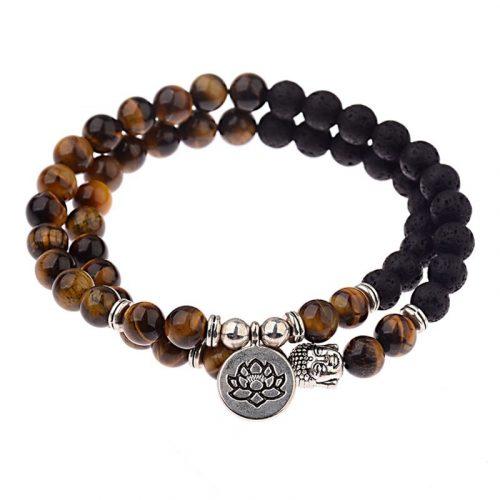 Bracelet bouddhiste œil de tigre et pierre de lave