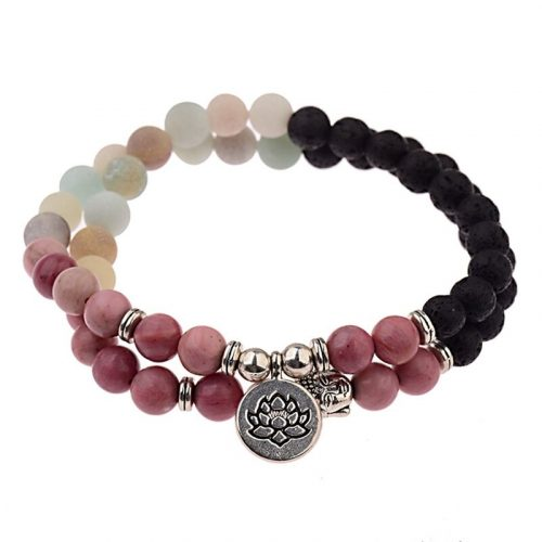 Bracelet bouddhiste amazonite et pierre de lave