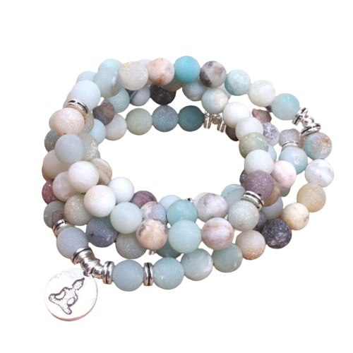 Bracelet bouddhiste 108 perles d'amazonite