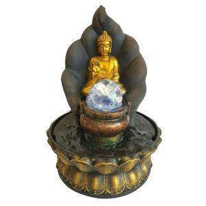 Fontaine lumineuse d'intérieur Bouddha avec boule