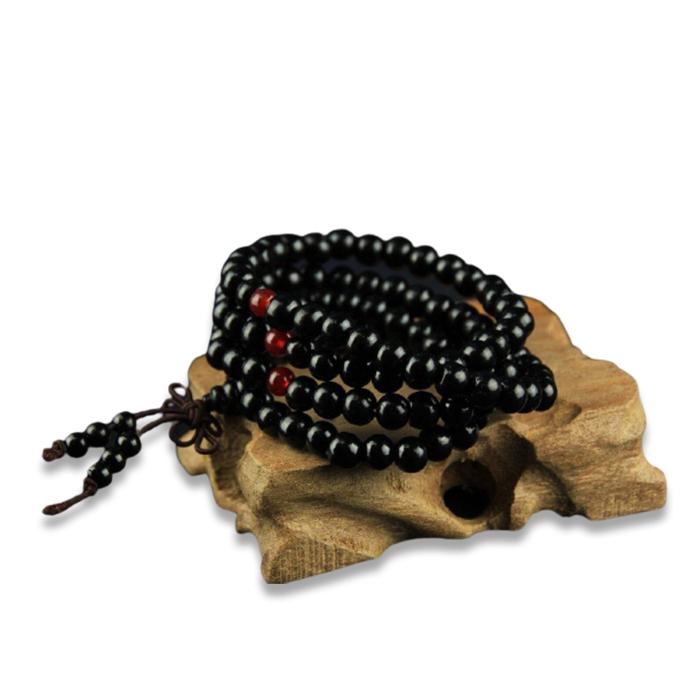 Bracelet bouddhiste 108 perles – noir