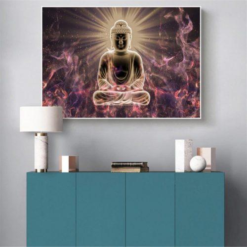 Toile Bouddha flamme intérieure