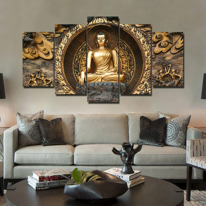 Tableau Bouddha or en 5 parties