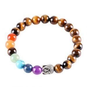 Bracelet Bouddha œil de tigre et 7 chakras