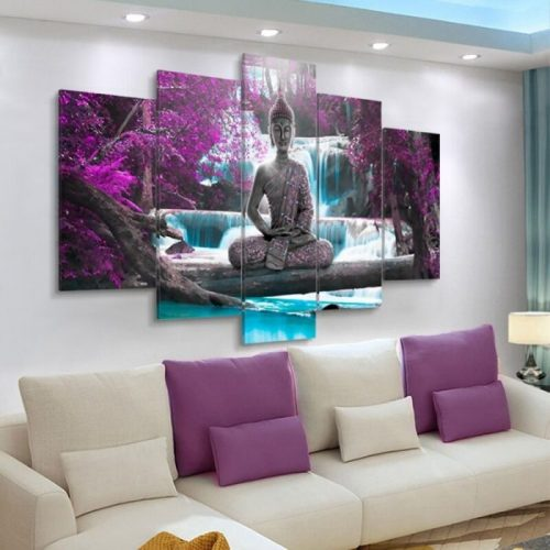 Tableau Bouddha 5 parties