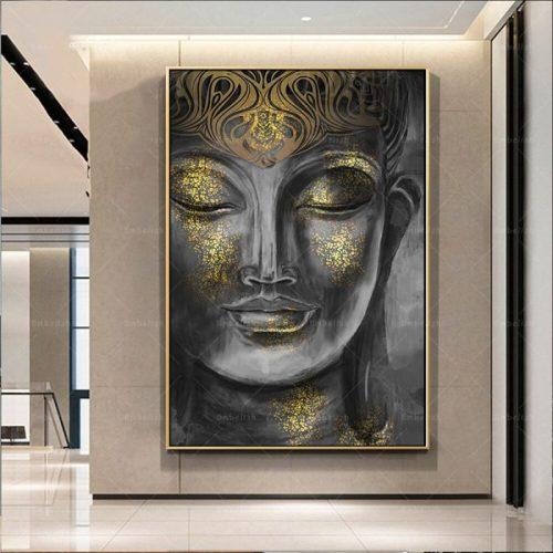 Tableau Bouddha noir et or