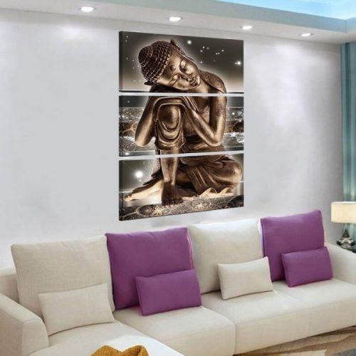 Tableau Bouddha tête sur les genoux