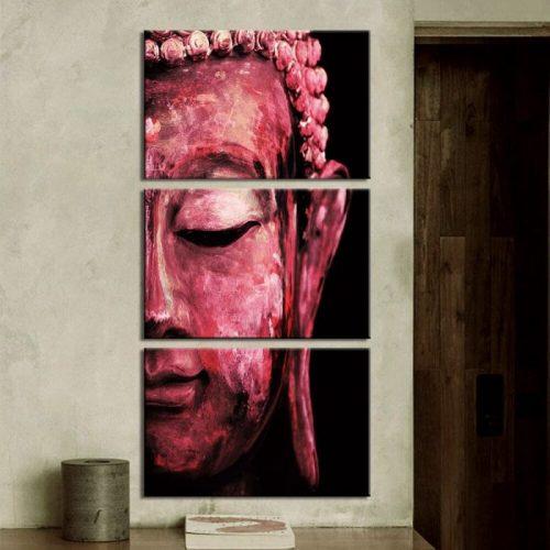 Tableau triptyque Bouddha rouge