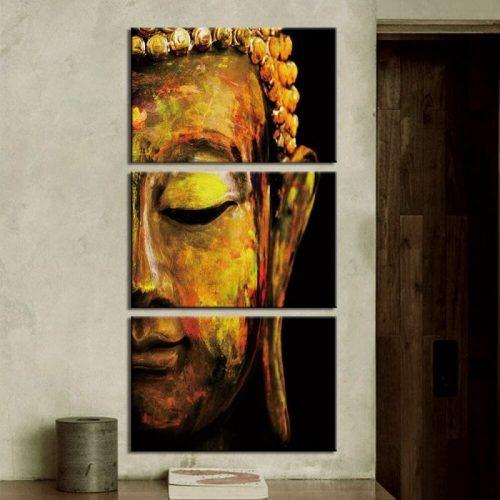 Tableau triptyque Bouddha jaune