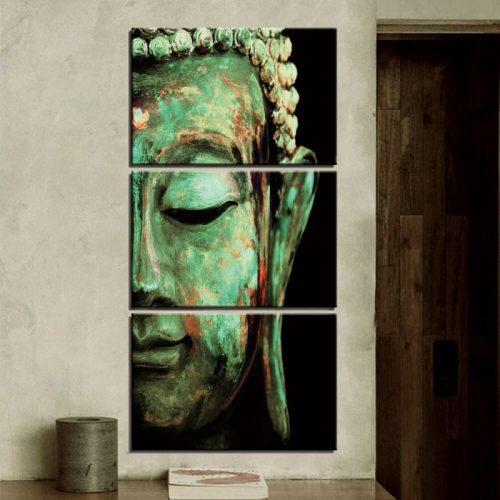 Tableau triptyque Bouddha vert