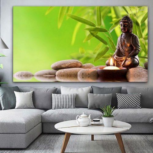 Tableau Bouddha vert