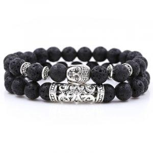 Bracelet bouddhiste pierre de lave noire