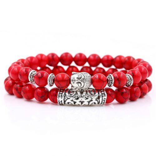 Bracelet bouddhiste jaspe rouge