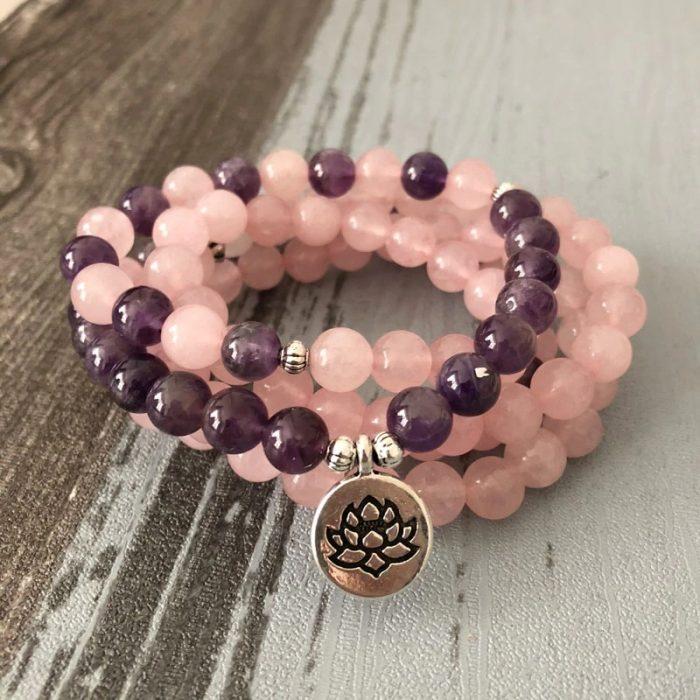 Collier bouddhiste quartz rose