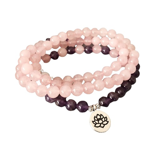 Collier bouddhiste quartz rose