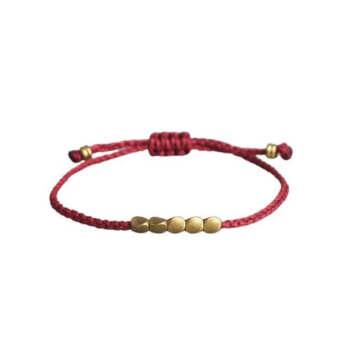 Bracelet tressé bouddhiste tibétain – nœud coulissant porte bonheur