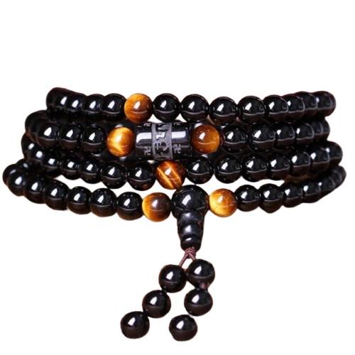 Bracelet Mala Bouddhiste Obsidienne/Oeil de Tigre