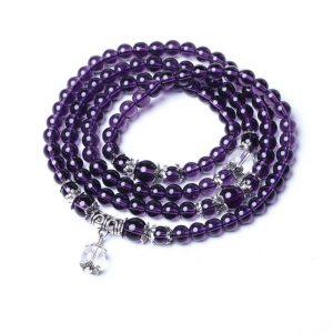 Bracelet mala bouddhiste en améthyste