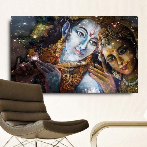 Tableau Bouddha Krishna et Radha