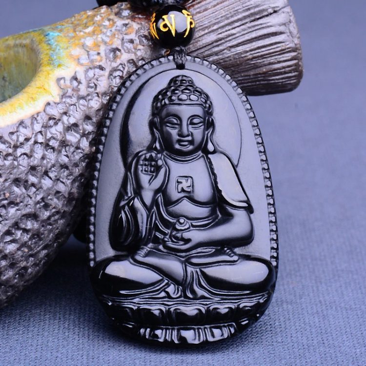 Collier Bouddha obsidienne