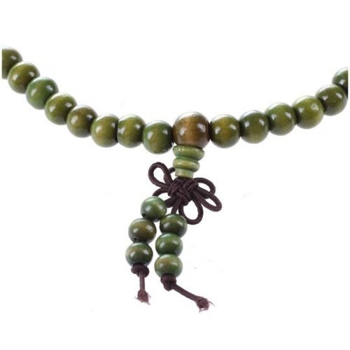 Bracelet bouddhiste Mala en bois de santal vert