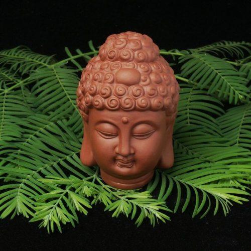 Statue tête Bouddha jardin