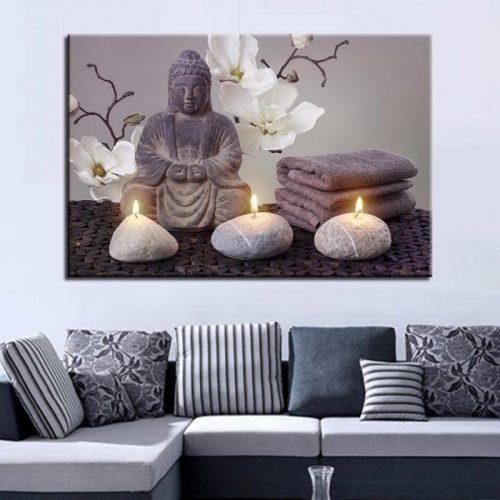 Tableau Bouddha bougies