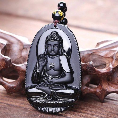 Pendentif Bouddha obsidienne