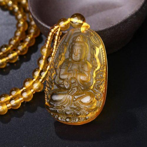 Pendentif Bouddha citrine