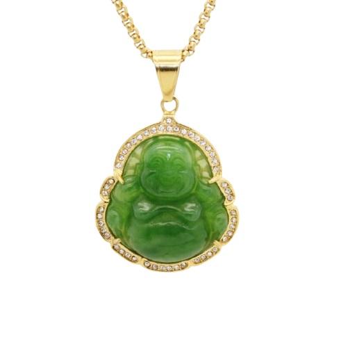 Pendentif Bouddha jade et or