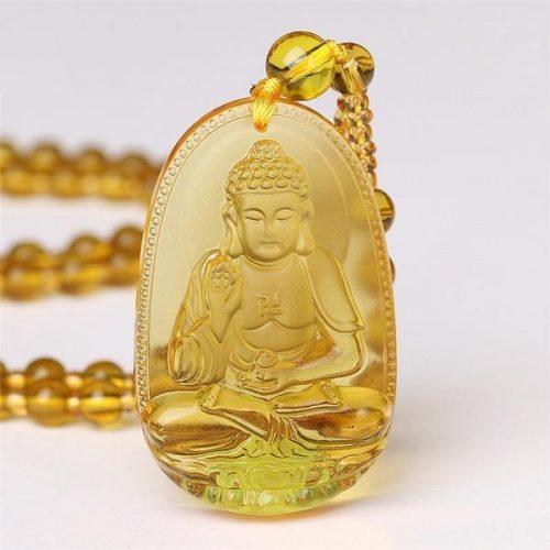 Pendentif Bouddha ambre jaune